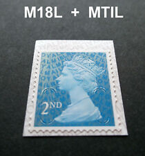 2018 2nd Class M18L + MTIL MACHIN SINGLE STAMP from Booklet SBP2