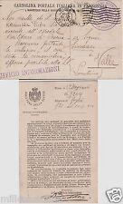 # 1916 -MINISTERO GUERRA -UFF. INFORMAZIONI- CART FRANCHIGIA-PER MILITARE ...