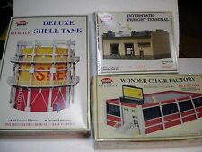 LOT OF 3 MODEL POWER KITS: SHELL OIL TANK , FREIGHT TERMINAL AND CHAIR FACTORY