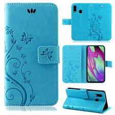 Samsung Galaxy A40 Handy Tasche Handyhülle Wallet Case Schutz Hülle Blumen Cover