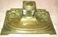 Vintage Marked D.R.G.M. German ? Brass Embossed ROSES Inkwell with Tray BEAUT!