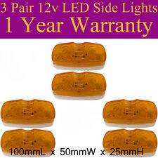 6 x  LED 12V Side Lights 100mmL x 50mmW x 25mmH 1 year Warranty K002