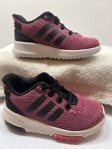 Adidas Cloadfoam Racer Toddler girls size 7c No Tie Laces.