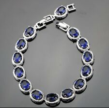 "Blue Oval Sapphire  Gemstone 925 Sterling Silver Bracelet  Bangle 7-8"""