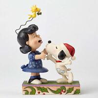 Jim Shore Peanuts 'Mistletoe Mischief' Snoopy Kissing Lucy Mistletoe 4052720