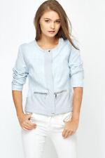 Ladies womens jacket blazer medium 10 12 light blue grey faux leather pu aztec