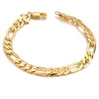 18K Yellow Gold Plating Womens Mens Bracelet Curb Chain Link Bangle Jewelry Gift