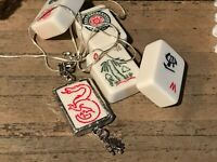 Recycled Game Tiles Jewelry, Catalin White Mah Jongg Pendant