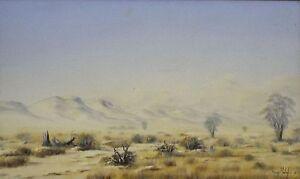 Boy Molefe (South African Contemporary Artist) Oil on Board - Kalahari Landscape
