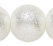 1 Strand Textured Opaque White 16mm Round Glass Based Pearl Beads