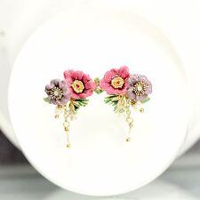 Boucles d`Oreilles Doré Fleur Rose Violet Feuille Vert Email Perle Culture L2