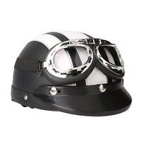 Casco de Moto Scooter Vintage Retro Cuero Ajustable con Visera Gafas Half-Helmet