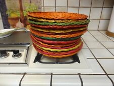 Set Of 15 Vintage Wicker Color Paper Plate Holders Rattan Picnic Bbq Party Euc