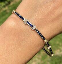 Blue Sapphire Diamond Buckle Station 14K Yellow Gold Vintage Skinny Bracelet