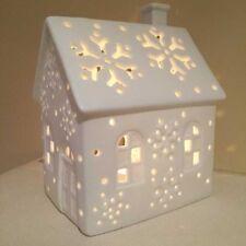 Gisela Graham White Bisque Ceramic House Tealight Holder