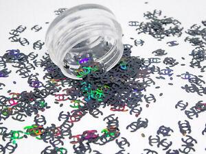 50 Stück Nail Art Einleger Shapes SCHWARZ IRISIEREND Sticker Strass Inlays CS-05