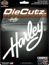HARLEY DAVIDSON WHITE SCRIPT DIE CUTZ DECAL ** MADE IN THE USA **