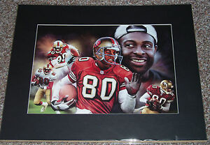 """JERRY RICE #80 , 16"""" x  20"""" MATTED PRINT SAN FRANCISCO FORTY NINERS"""