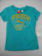Puma Nwt Girls Tee Top Shirt Glitter Original Sport Pgs27158 Aqua Gold 3 3T