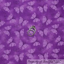 BonEful FABRIC FQ Cotton Quilt VTG Purple Butterfly Girl Spring Tone Dot Cancer