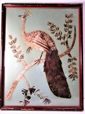CA. 1930'S EXOTIC FEATHER FOLK ART PICTURE OF A PEAFOWL/PEACOCK ON BRANCH