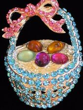 """SILVER PINK BLUE RHINESTONE EASTER EGG HUNT BASKET BOW PIN BROOCH JEWELRY 2"""" 3D"""