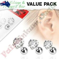 316L Surgical Steel Tragus/Cartilage Stud with Clear Gem Heart 3 Pack