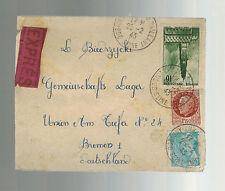 1942 Frankreich Zensiert Express zu Bremen Concenration Camp Deutschland Kz
