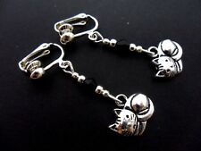 A PAIR TIBETAN SILVER DANGLY CAT & BLACK CRYSTAL CLIP ON  EARRINGS. NEW.