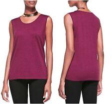 Eileen Fisher 3486 Womens Merino Wool Heathered Tank Top Shirt Petites BHFO PS Plum