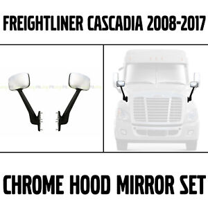Freightliner Cascadia 2008-2017 Truck Hood Mirror Set Pair Left Right Chrome