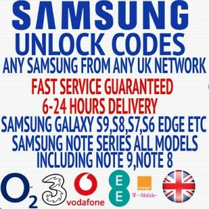 Samsung Galaxy S8+ S8 S7 Edge S7 Plus Unlock Code ee O2 Vodafone 3 UK networks