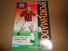 Porthmadog vs Barry Town - 20/8/1994 Football Programme Welsh Premier League