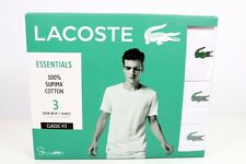 Lacoste T-Shirt Mens M 3 Pack 100% Supima Cotton V Neck White Classic Fit Tee