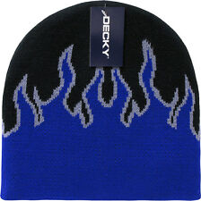 Royal Blue Black Tribal Flames Beanie Knit Cap Skully Hat Ski Winter Snowmobile