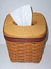 Vintage Longaberger Tall Tissue Basket with Wooden Lid & Plastic Liner
