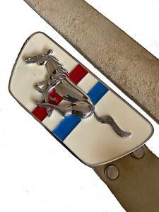 Industrie Retro Mustang Steel Enamelled Belt Buckle & Tan Leather Belt Size M