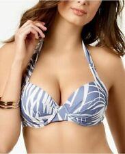 Calvin Klein Printed Underwire Halter Bikini Top Blue White XS NWT