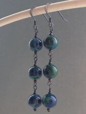 Round Green & Blue Chrysocolla Gemstones Oxidized Sterling Silver Earrings