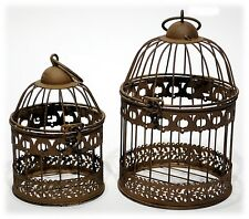 """Rusty Brown Metal Bird Cage Set/2 Home Decor Accent Candle Holder 7"""" & 9"""" H"""