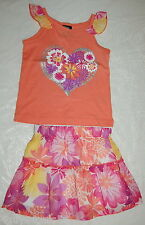 Toddler Girls Outfit FRILLY RUFFLE SKIRT Tank Top ORANGE PINK Flower Heart 18 MO