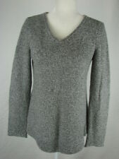 EILEEN FISHER SZ XS  SWEATER TUNIC  VEE NECK PULLOVER GREY WHITE TWEED
