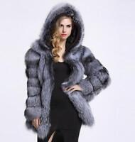 womens grace hooded winter warm parka outwear fox fur thicken coat plus SZ S-4XL