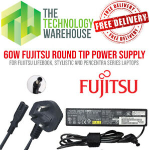 Genuine Fujitsu 60w Charger PSU - Round Tip 6.5mm*4.4mm - 16V 3.75A +Power Cable