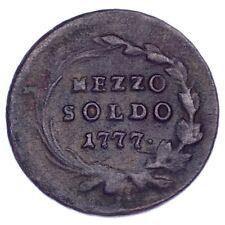 1777 Italian States Milan 1/2 Soldo VF Condition KM #184