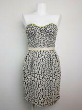 Matthew Williamson Strapless Dress Women's Size 10 Boned Fitted Textured Leopard
