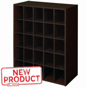 25 Cube Storage Organizer Display Unit Bookcase Cubby Shoes Stackable Brown NEW