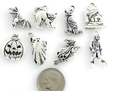 TierraCast HALLOWEEN Charm Set-Silver Pumpkin, Zombie, Ghost++ (8)