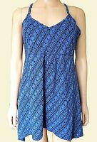New Ex Fat Face Blue Jersey Strappy Asymmetric Hem Summer Tunic Dress Size 6-14
