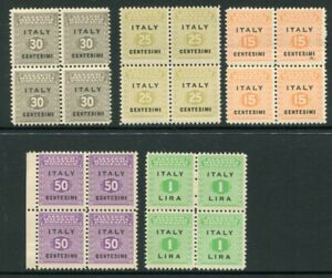 ITALY 1943 ALLIED OCCUPATION MNH Lot BLOCKS x4 20 Stamps